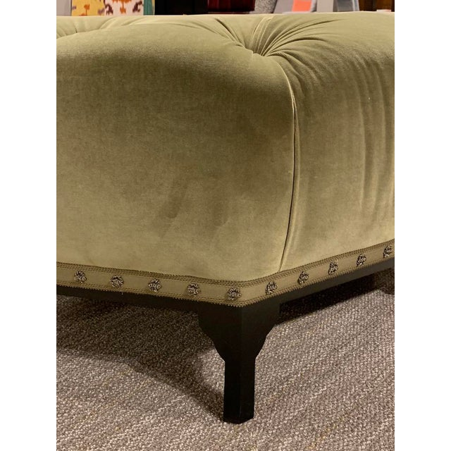 Traditional Modern Henredon Green Astor Court Ottoman For Sale - Image 3 of 6
