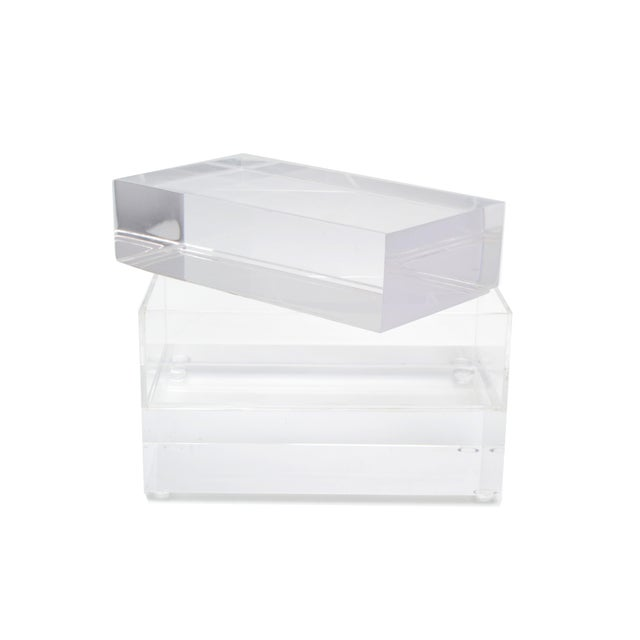 Jewelry Box in Clear Lucite w/ Transparent Center Piece For Sale In Miami - Image 6 of 10