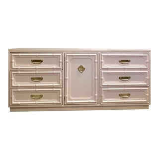 Pink Lacquered Faux Bamboo Credenza For Sale