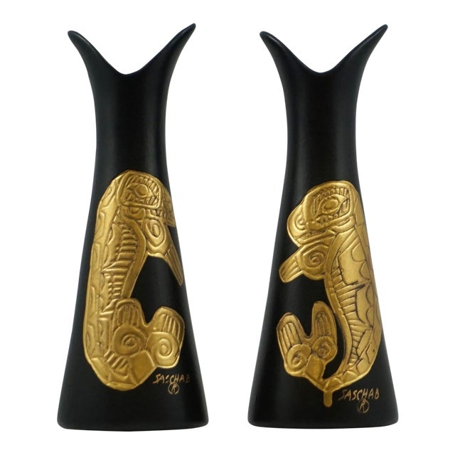 Sascha Brastoff Alaska Series Black & Gold Vases - a Pair For Sale