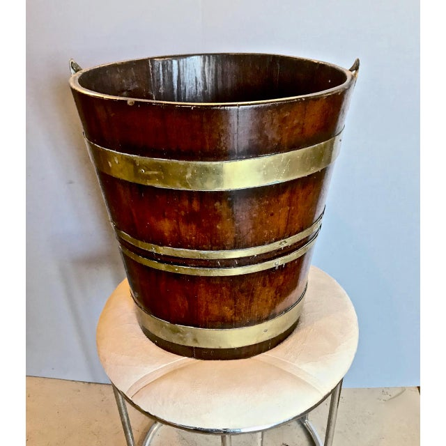 Brass Antique English Mahogany Brass Bound Peat Bucket For Sale - Image 7 of 8