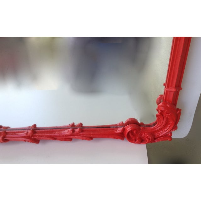 Antique French Red Lacquered Mirror - Image 8 of 11