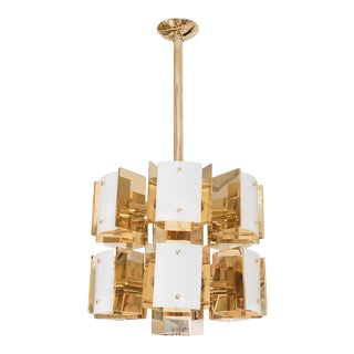 Cylindrical Two Tiered Brass Chandelier For Sale