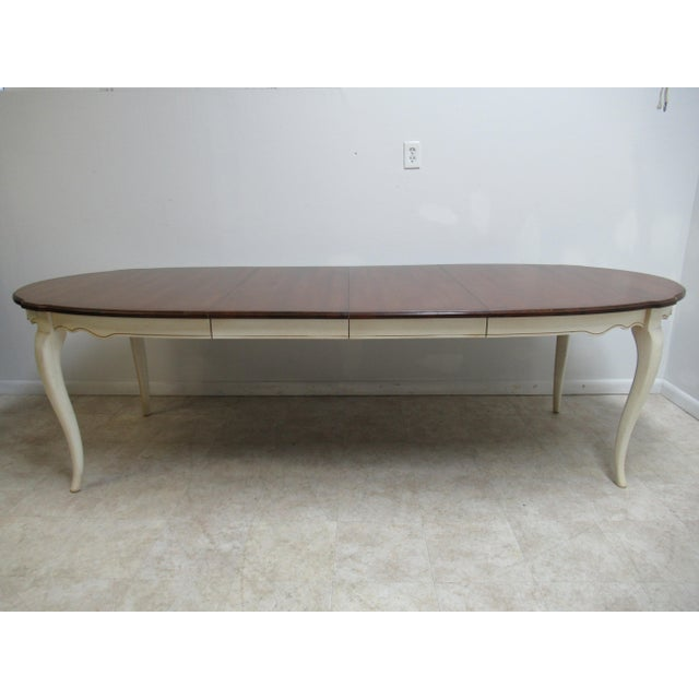 French Country Ethan Allen Dining Room Banquet Table For Sale - Image 11 of 12
