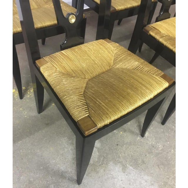 Maison Jansen Refined Set of 6 Black Dinning Chairs With Rush Seat For Sale - Image 6 of 8