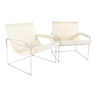 Vintage Milo Baughman Thin Line Mid Century Chrome Scoop Lounge Chairs- A Pair For Sale