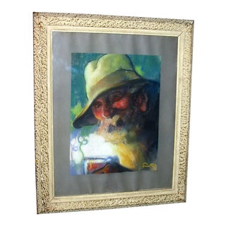 """Antique """"Seafaring Man"""" Portrait Pastel Drawing For Sale"""