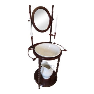 1960s Victorian Gentleman's Shaving Wash Stand For Sale