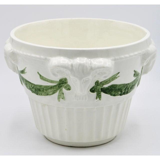 White Italian White Rams Head Ceramic Planter For Sale - Image 8 of 8