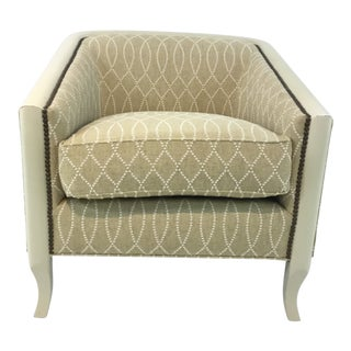Modern Drexel Heritage Gold and Cream Bria Lounge Chair For Sale
