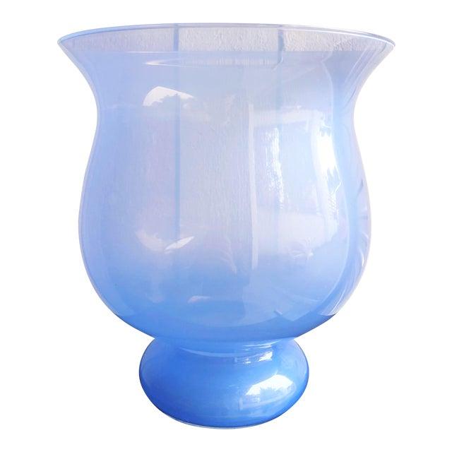 Italian Glass Urn Vase in Periwinkle For Sale