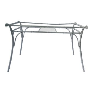 Powder Coated Vintage Metal Faux Bamboo Table For Sale