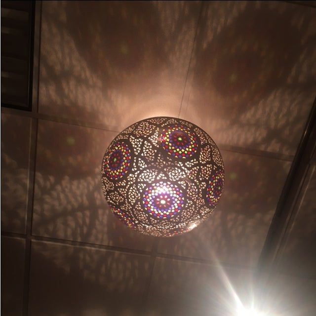 Moroccan Boho Chic Silver Pendant Light With Multi-Color Glass - Image 3 of 5