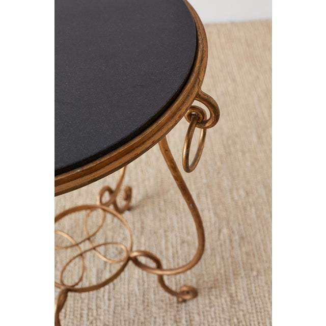 Gold Rene Drouet Style Gilded Iron and Granite Table For Sale - Image 8 of 13