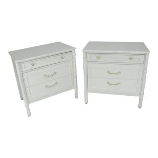 Pair of White Lacquer Faux Bamboo Large Nightstands Three-Drawer Bachelor Chests For Sale