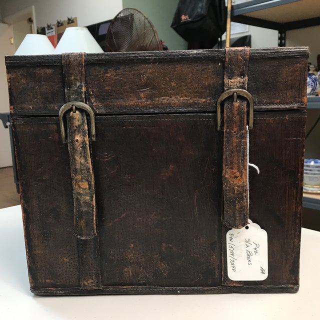 1940s Vintage Leather Storage Boxes - A Pair For Sale - Image 5 of 11