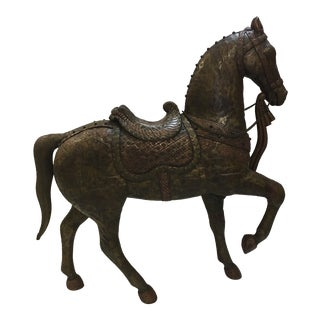 Large Mid Century Cooper and Bronze Sculpture of Horse For Sale