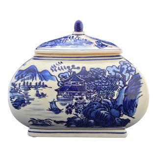 Qing Chinese Willow Blue Pagoda Tureen Dish Box For Sale