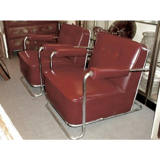 Thonet Frères by René Coquery Documented Modernist Pair of Club Chairs For Sale - Image 6 of 8