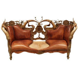 Amazing Custom Horn, Leather, Bronze Sofa Signed by Artist c. 1990s For Sale