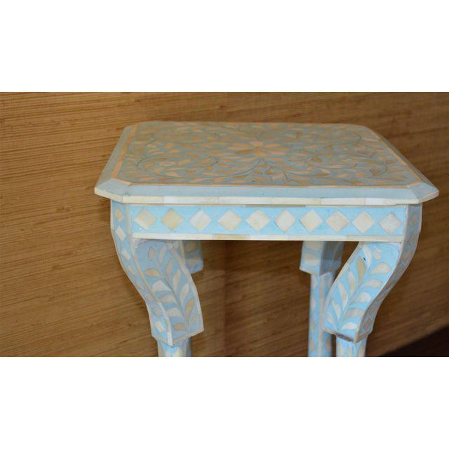 Indian Bone Inlay Side Table - Image 5 of 10