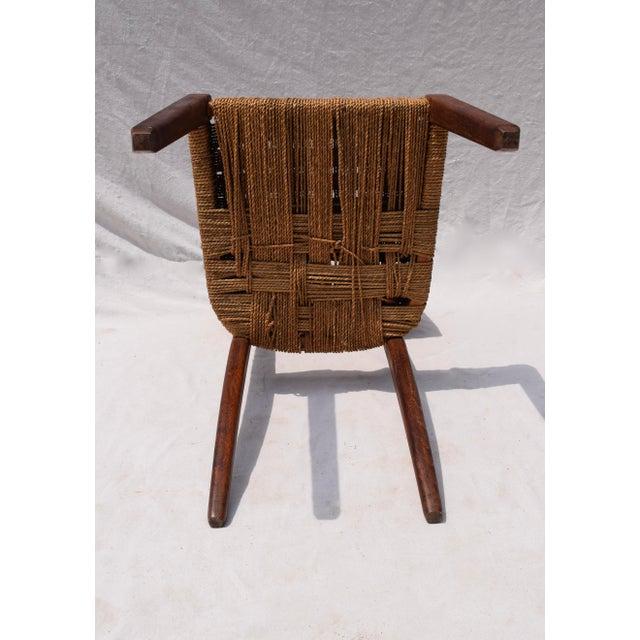Teak Mid Century Modern Side Desk Rope Chair For Sale - Image 11 of 12