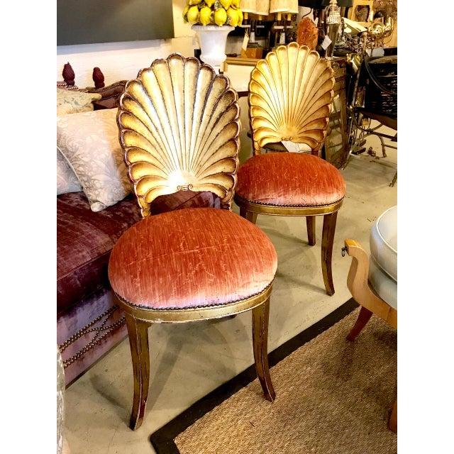 Gold Leaf Pair Gold Leafed Shell-Form Side Chairs For Sale - Image 7 of 8