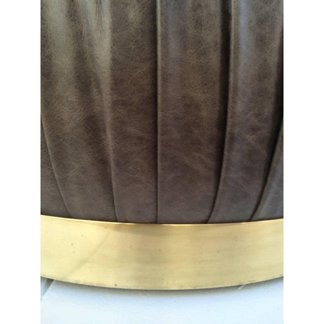 Large-Scale Leather and Brass Ottoman by Karl Springer - Image 6 of 6