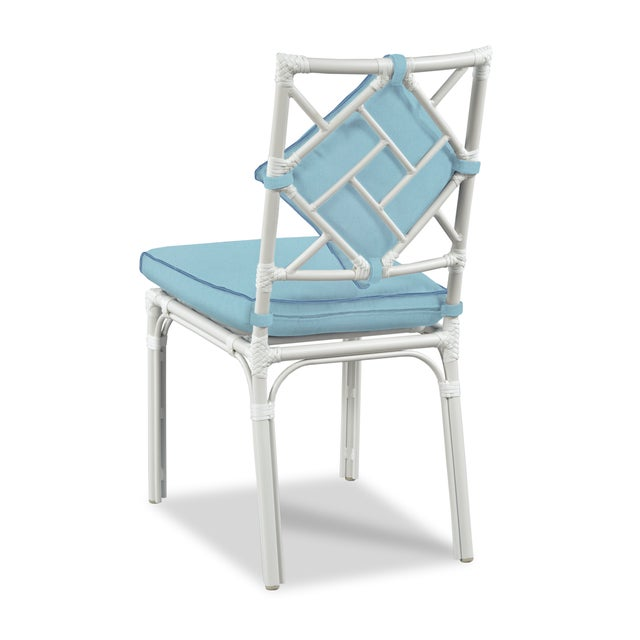 Casa Cosima Home Haven Outdoor Dining Chairs, Canvas Mineral Blue with Canvas Sapphire Welt - Set of 6 For Sale - Image 4 of 5