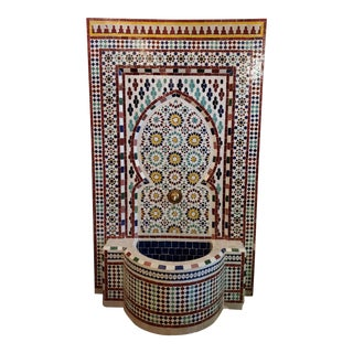 Large Multicolor Mosaic Fountain For Sale
