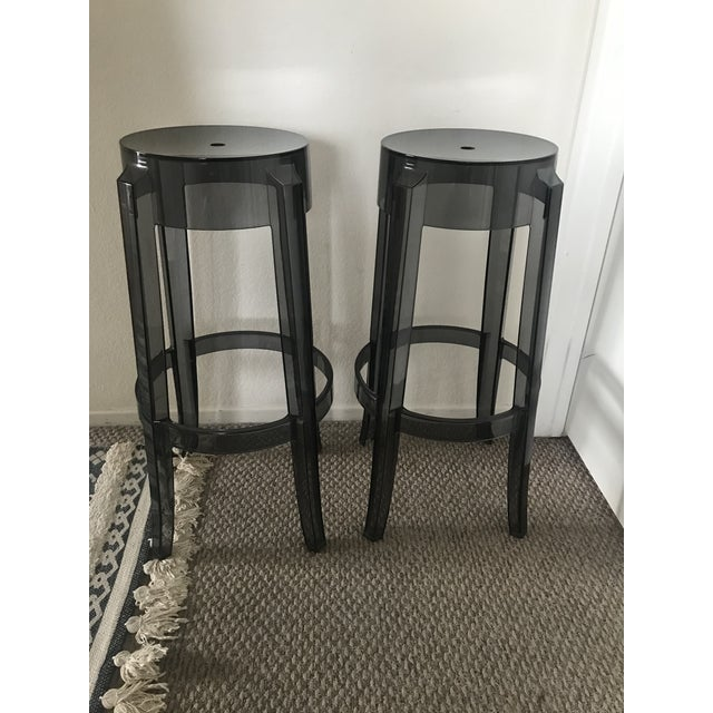 Kartell Modern Kartell Charles Ghost Bar Stools- A Pair For Sale - Image 4 of 4
