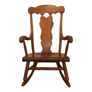 Rare Design 1970s Stained Real Hardwood Rocking Chair For Sale