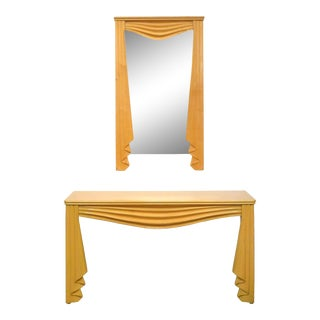 "Carved Wood Surrealist ""Drapery"" Console and Mirror For Sale"