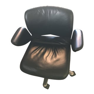 1980s Mid-Century Modern Herman Miller Black Leather Desk Chair For Sale