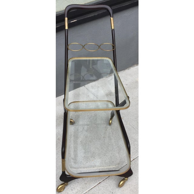 Gorgeous Italian Cesare Lacca bar cart in its original condition. The piece is from the 1950s.