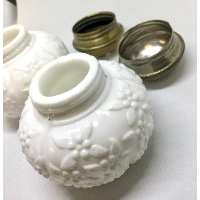 Unique Vintage Milk Glass Set of Salt & Pepper For Sale - Image 9 of 13