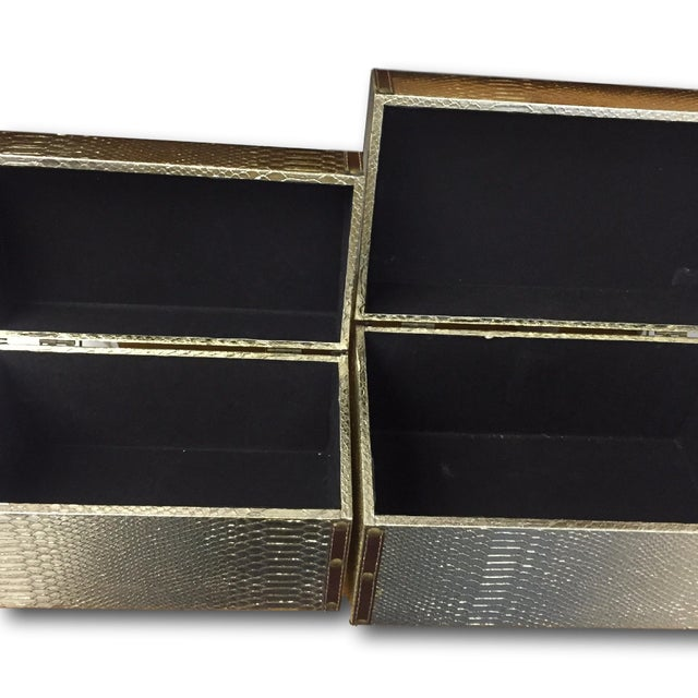 Gold Faux-Snakeskin Nesting Boxes - A Pair - Image 5 of 6