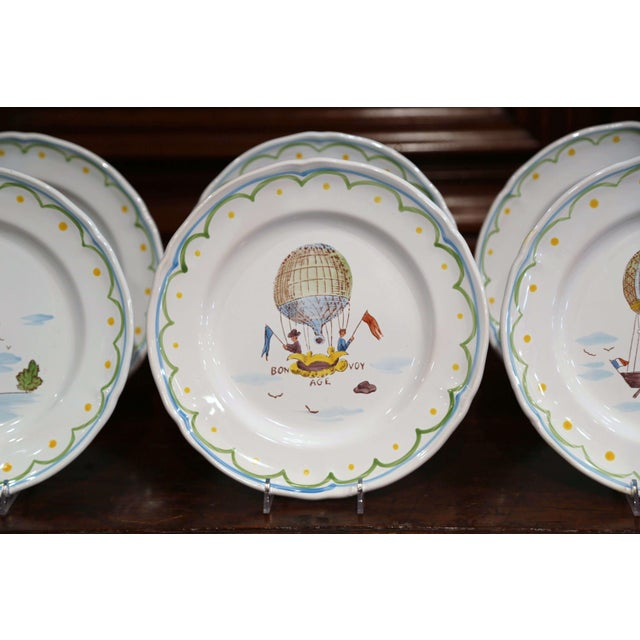 Ceramic Set of Six French Hand-Painted Ceramic Hot Air Balloon Plates From Brittany For Sale - Image 7 of 13