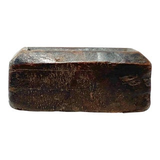 Antique Wood Carved Decorative Container For Sale