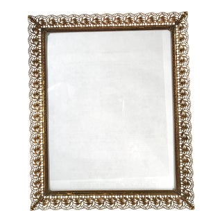 Mid-Century Modern Brass Picture Frame With Pierced Edges For Sale