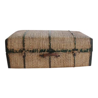 Large Antique Straw & Metal Suitcase For Sale