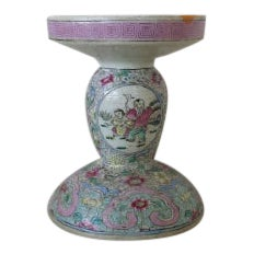 Antique Chinese Canton Famille Rose Porcelain Candle Stick Late 1800's For Sale