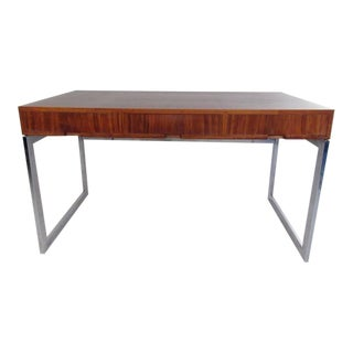 Milo Baughman Syle Writing Desk in Walnut and Chrome