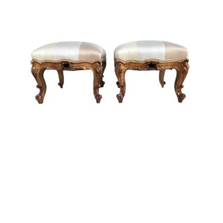 "Antique French Foot Stools | Louis XV W/Silk Pair 15.5""h by 17""w For Sale"