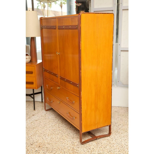 1950s Large Cherrywood and Leather Cabinet by Jacques Adnet For Sale - Image 10 of 13