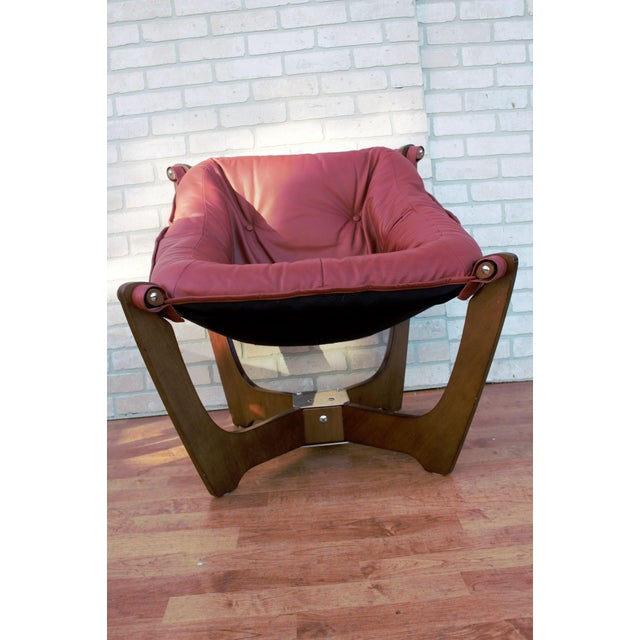1970s Mid Century Modern Odd Knutsen Luna Lounge Chair and Ottoman For Sale - Image 5 of 13