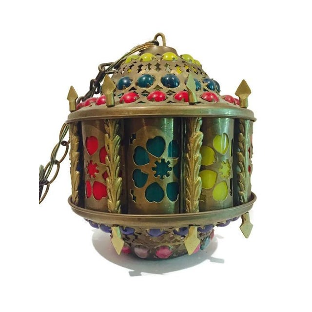 Mid-Century Brass Moroccan Jeweled Swag Light - Image 2 of 7