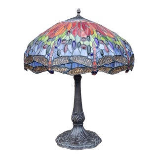 Reproduction L C Tiffany Style Leaded Stained Glass Dragonfly Shade Lamp For Sale
