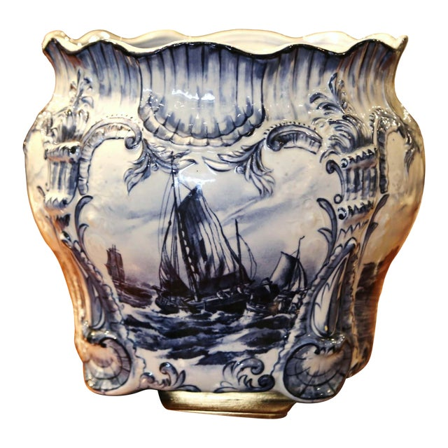 Large 19th Century Dutch Hand-Painted Blue and White Ceramic Delft Cachepot For Sale