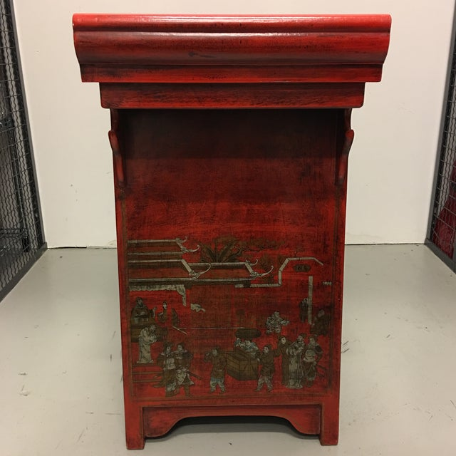Chinese Antique Style Painted Buffet Cabinet - Image 4 of 8